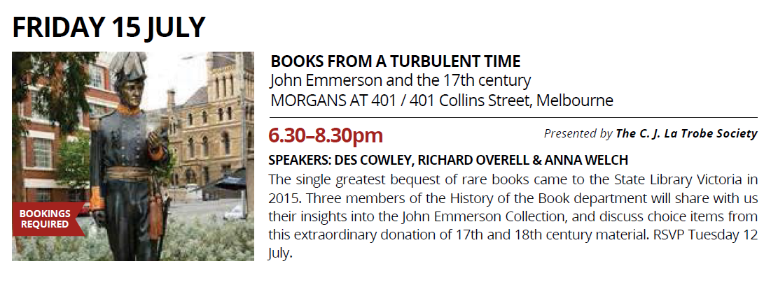 Melbourne Rare Book Week - Books from a Turbulent Time - Friday July 15, 2016